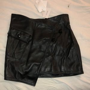 NWT Genuine leather asymmetric skirt size 40